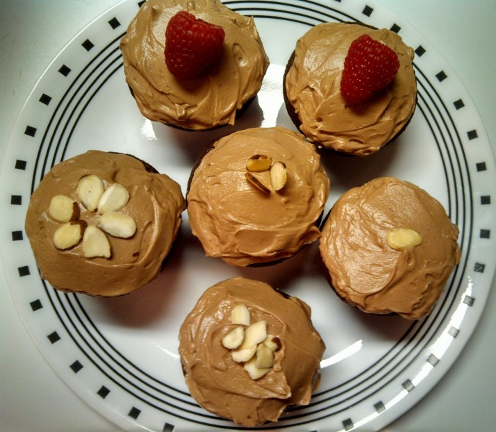 Almond Joy and Raspberry-filled Chocolate Cupcakes